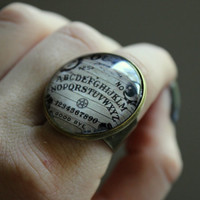 Halloween Dome Ring, Ouija Board, Ouija Ring, Gothic Jewelry, Spooky Jewelry, Adjustable Ring, Skull Ring, Goth Jewelry, Statement Ring