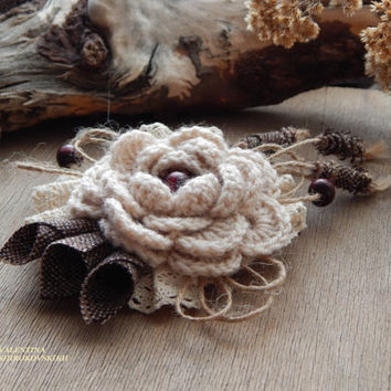 Beautiful Handmade Brooch. Yarn Knitted Boho Brooch. Shabby Chic