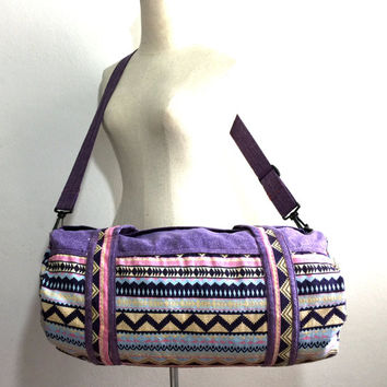 Indie Fashion Purse, Hippie Festival Duffel bag, Aztec Weekender bag for Short trip, Hipster Gym bag, Cute Round Duffle bag, Tribal inspired
