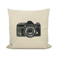 Personalized pillow case - Your urban print choice (camera, bicycle, cassette, water tank, thumbprint) & fabric - 18x18 throw pillow cover