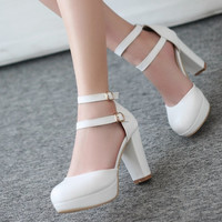 New Women's buckle Shoes Vintage Pumps Brand Desigh High Heel Round toe Platform Patent PU Pumps Shoes Plus Size Alternative Measures