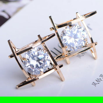 Diamond In Square Rhinestone Earrings