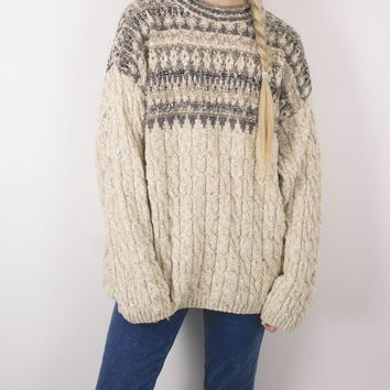 Vintage Nordic Cable Knit Sweater