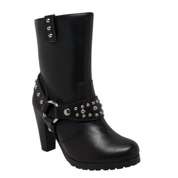 "Women's 10"" Harness Biker Boot Black - Footwear"