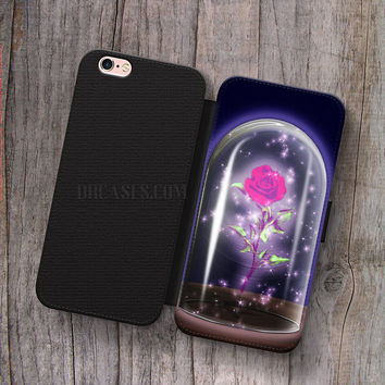 Wallet Leather Case for iPhone 4s 5s 5C SE 6S Plus Case, Samsung S3 S4 S5 S6 S7 Edge Note 3 4 5 rose beauty and the beast Cases
