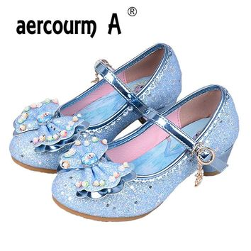 Aercourm A 2017 Girls High Heels Shoes Elsa Anna Princess Children Shiny Dancing Shoes Girls lovely Bow Beaded Performance Shoes