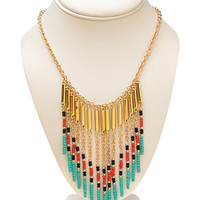 Worldly Beaded Fringe Bib Necklace