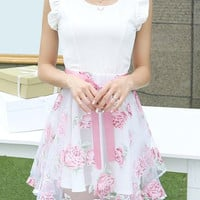 Ruffled Sleeve Pink Floral Printed Dress