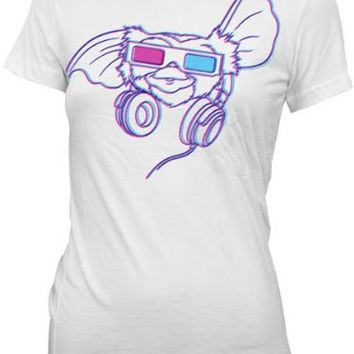 Gremlins Gizmo Headphones 3D Glasses White Juniors T-Shirt - Gremlins - | TV Store Online