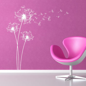 Big Dandelions Wall Decal Dandelion Wall Decals Wall Vinyl Graphic Wall  Decal White Dandelions Wall Sticker