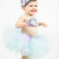 Lavender, Aqua, Mint Tutu, Top & Headband- Birthday, 1st birthday, Mermaid, Ocean, Girl, Newborn, Infant, cake smash, photo prop