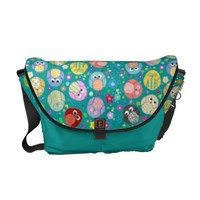 Blue bag with cute owls and flowers courier bag from Zazzle.com