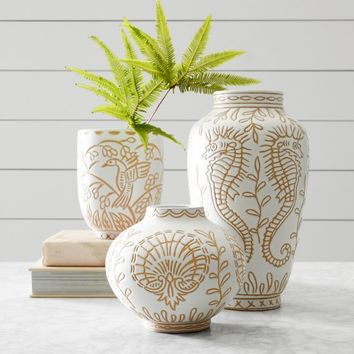 AERIN Carved Terracotta Cachepot