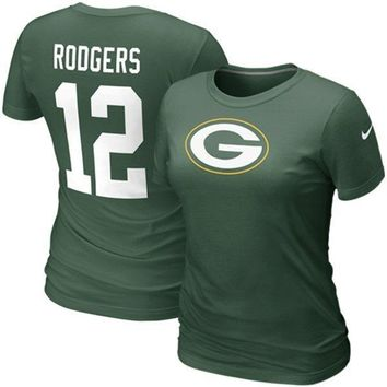 Nike Aaron Rodgers Green Bay Packers #12 Women's Replica Name & Number T-Shirt - Green
