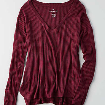 AEO Soft & Sexy Rib Drop Shoulder T-Shirt , Burgundy