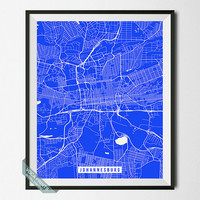 Johannesburg Print, South Africa Poster, Johannesburg Street Map, South Africa Map Print, Modern Art, Street Map, Back To School