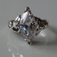 Marquise Cubic Zirconia Sterling Silver 925 Ring