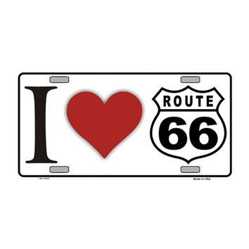 Smart Blonde I Love Route 66 Novelty Vanity Metal License Plate Tag Sign