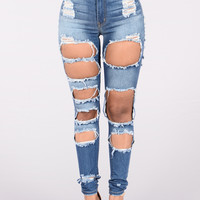 Ripped At The Seams Jeans - Medium Dark