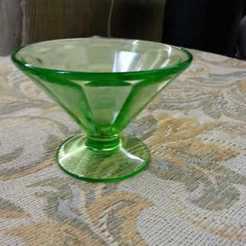 Glass - Green Depression Glass Sherbert