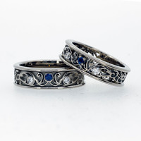 Filigree wedding band set with blue sapphires and diamonds, matching wedding ring, unique, men sapphire ring, men filigree, blue wedding