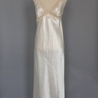 Vintage 90s does 1940s Ivory Silk Cream Lace Nightgown Lingerie Pin Up Boudoir Fashion Long Gown Wedding Night Lingerie 40s Art Deco
