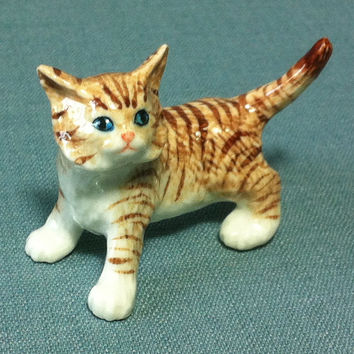 Miniature Ceramic Cat Kitty Kitten Pet Baby Animal Cute Little Tiny Small White Brown Figurine Statue Decoration Collectible Hand Painted