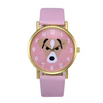 Puppy Pattern Faux Leather Band Wristwatches