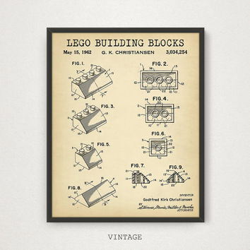 LEGO Printable Blueprint, Toy Brick Patent, Lego Toys Building Block Print, Lego Poster, Kids Room Wall Art, Nursery Decor, Lego Chalkboard