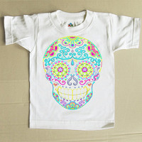 Day of the Dead kids tshirt Multicolor Sugar skull Toddler Clothes. Cotton Tattoo Rockabilly Muertos Trendy 2T 3T shirt top Cute Kids tshirt