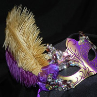 One of A Kind - Masquerade Mask in Purple and Gold