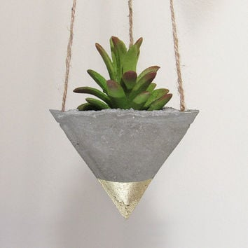Succulent Planter, Concrete Planter, Hanging Planter, Air Plant Holder, Geometric Planter, Gold Planter, Modern Planter, Indoor Planter