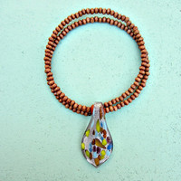 Adjustable Wood Beaded Memory Wire Choker with Speckled Dichroic Glass Pendant: Soho