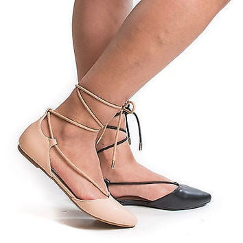Sequel04S D'Osay Pointy Toe Ankle Wrap Lace Up Tie Ballet Flat