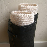 Cream boot cuffs - fashion boot cuffs - handmade warm boot toppers - cream legwarmers - crocheted boot cuffs