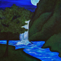 Waterfall painting, Hnad Painted waterfall, Acrylic painting of waterfall and moon, Canvas paintings, Home decor, Tree and waterfall decor