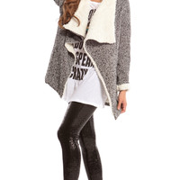 GRAYSCALE DRAPE COLLAR JACKET