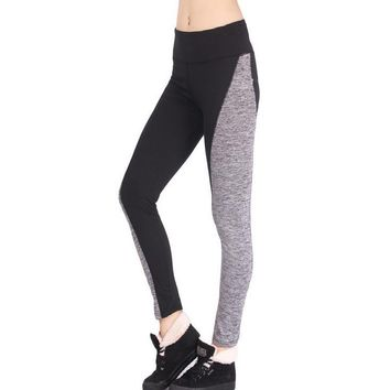 Leggings Cotton Stripes Patchwork Quick Dry Sportswear-1