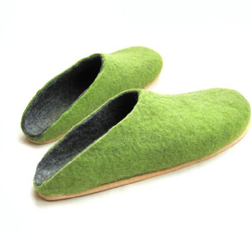 Mens Wool Felt Clogs Green Cork Sole