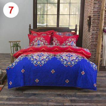 4Pcs/Set Bohemian Bedding Set Floral Printed Bed Linens Full Duvet Cover Flat Sheet Pillow Case 2017ing