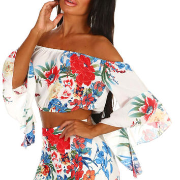 Sorrento Chic White Tropical Print Co-Ord