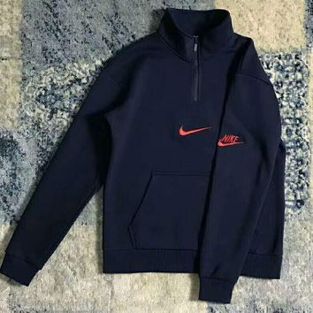 Nike Fashion High Neck Zipper Embroider Logo Long Sleeve Sweater Navy blue G-WMGCD