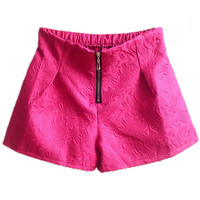 ROMWE | Zippered Floral Rose Shorts, The Latest Street Fashion