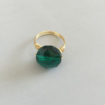 Emerald Ring wire wrapped