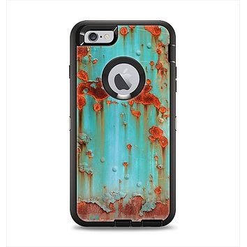The Teal Painted Rustic Metal Apple iPhone 6 Plus Otterbox Defender Case Skin Set