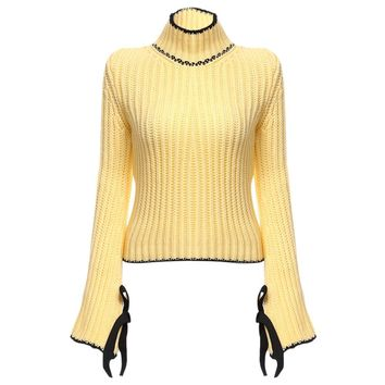 Chic Turtleneck Flare Sleeve Candy Color Pullover for Women