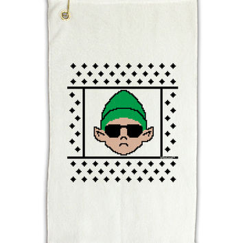 "Cool Elf Christmas Sweater Micro Terry Gromet Golf Towel 11""x19"