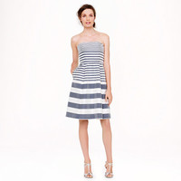 STRAPLESS STRIPE SILK DUPIONI DRESS