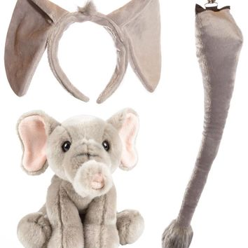 Stuffed Plush Elephant Ears Headband and Tail Set with Baby Plush Toy Elephant Bundle for Pretend Play Animals Dressup