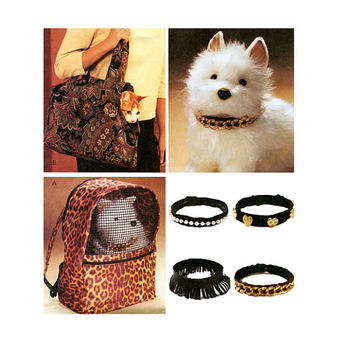 DOG CAT CARRIERS Pattern Dog Cat Accessories Pet Backpack Carrier Shoulder Tote Carrier Fancy Collars McCalls 4128 DiY Craft Sewing Patterns